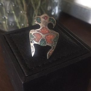 VINTAGE NATIVE AMERICAN Turquoise Coral Bird Ring